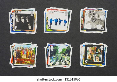 UNITED KINGDOM - CIRCA 2007: six postage stamps printed in United Kingdom showing images of The Beatles album covers, circa 2007.