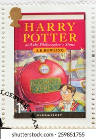 UNITED KINGDOM - CIRCA 2007: A stamp printed by GREAT BRITAIN shows image of the cover of Harry Potter and the Philosopher's Stone novel by Joanne (Jo) Rowling, pen names J. K. Rowling, circa 2007.