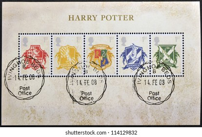 UNITED KINGDOM - CIRCA 2007: Stamps printed in Great Britain shows Hogwarts Crests, Harry Potter, circa 2007
