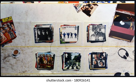 UNITED KINGDOM - CIRCA 2007:  stamps printed in Great Britain showing images of The Beatles album covers, circa 2007.