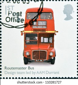 UNITED KINGDOM - CIRCA 2009: A stamp printed in Great Britain dedicates to Design Classics, shows Routemaster Bus by A.A.M. Durrant, circa 2009