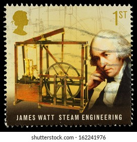 UNITED KINGDOM - CIRCA 2009: Used postage stamp printed in Britain celebrating Pioneers of the Industrial Revolution showing James Watt and Steam Engineering, circa 2009