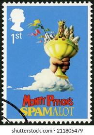 UNITED KINGDOM - CIRCA 2011: A stamp printed in United Kingdom shows Monty Python's Spamalot, series Musicals, circa 2011