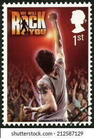 UNITED KINGDOM - CIRCA 2011: A stamp printed in United Kingdom shows We Will Rock You, series Musicals, circa 2011