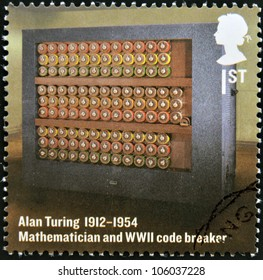 UNITED KINGDOM - CIRCA 2012: A stamp printed in Great Britain shows mathematician and WWII code breaker, Alan Turing, circa 2012