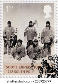 UNITED KINGDOM - CIRCA 2012: A stamp printed by UNITED KINGDOM shows Scott Expedition at South Pole. Royal Navy officer Robert Falcon Scott who led two Antarctic expeditions, circa 2012.