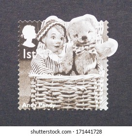 UNITED KINGDOM - CIRCA 2014: a postage stamp printed in United Kingdom showing an image of children tv cartoon character Andy Pandy, circa 2014.