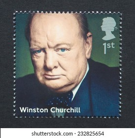 UNITED KINGDOM - CIRCA 2014: a postage stamp printed in United Kingdom showing an image of prime minister Winston Churchill, circa 2014.