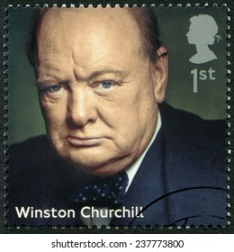 UNITED KINGDOM - CIRCA 2014: A stamp printed in United Kingdom shows Sir Winston Leonard Spencer Churchill (1874-1965), politician, series Prime Ministers, circa 2014
