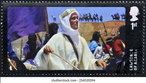 UNITED KINGDOM - CIRCA 2014: A stamp printed in Great Britain dedicated to Great British Film, shows Lawrence of Arabia, circa 2014