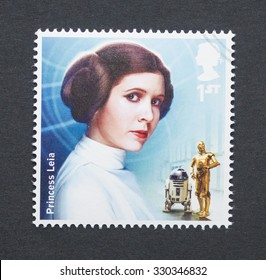 UNITED KINGDOM - CIRCA 2015: a postage stamp printed in United Kingdom commemorative of Star Wars movie with Princess Leia character, circa 2015.