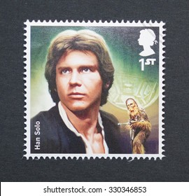 UNITED KINGDOM - CIRCA 2015: a postage stamp printed in United Kingdom commemorative of Star Wars movie with Han Solo character, circa 2015.