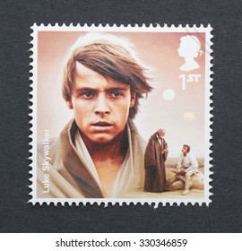 UNITED KINGDOM - CIRCA 2015: a postage stamp printed in United Kingdom commemorative of Star Wars movie with Luke Skywalker character, circa 2015.