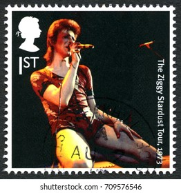 UNITED KINGDOM - CIRCA 2017: A used postage stamp from the UK, celebrating the British music legend David Bowie, circa 2017.