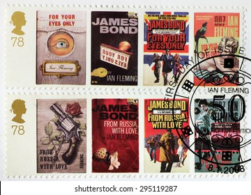 UNITED KINGDOM - CIRCA APRIL, 2008: A set of two stamps printed by GREAT BRITAIN shows images of covers of James Bond For Your Eyes Only and From Russia with Love novels by Ian Fleming.