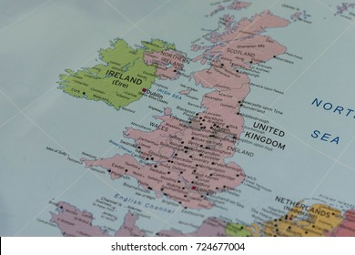United kIngdom closeup map.