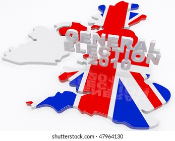 the united kingdom draped in a union jack with general election 3d text hovering