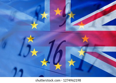 United Kingdom and EU flags combined with calendar background in close-up. Full frame background concept of Brexit upcoming date