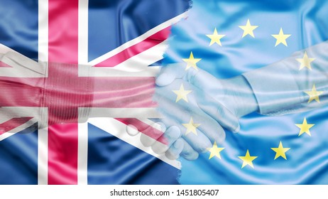 United Kingdom and European Union Flag merged with Handshake, Brexit project, Double Exposure Concept