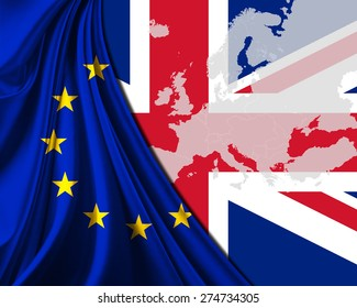 United Kingdom and European Union Flag with Europe map background