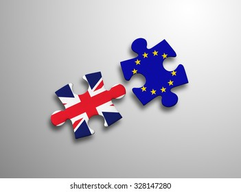 United Kingdom and European Union in puzzle isolated on white background.