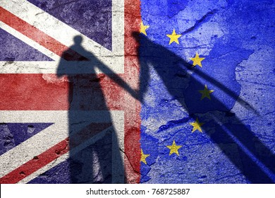 United Kingdom and European Union textured flags background with shadow of couple holding hands.