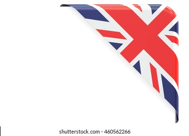 United Kingdom flag corner, button, label. 3D rendering isolated on white background