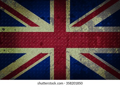united kingdom flag on metal plate background. grunge design. retro style.