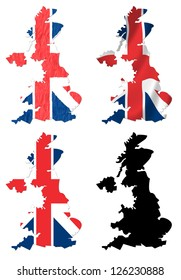United Kingdom flag over map collage