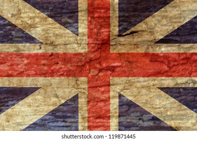 United Kingdom flag overlaid with grunge texture