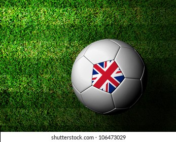 United Kingdom Flag Pattern 3d rendering of a soccer ball in green grass