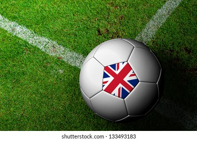 United Kingdom Flag Pattern of a soccer ball in green grass