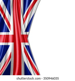 United Kingdom flag of silk with copyspace for your text or images and white background