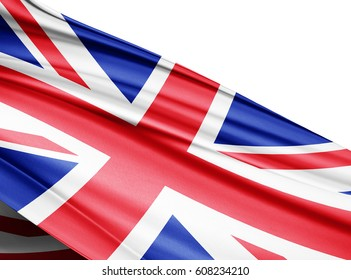 United Kingdom  flag of silk with copyspace for your text or images and white background-3D illustration