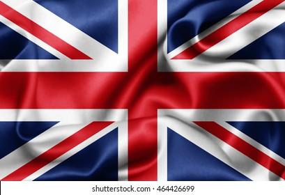 United Kingdom flag of silk-3D illustration