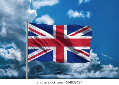 United Kingdom flag with sky background