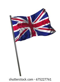 United Kingdom Flag Waving Isolated on White Background Portrait 3D Rendering
