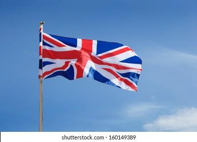 United Kingdom Flag waving on wind.