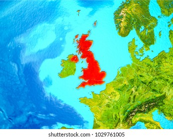 United Kingdom highlighted in red on planet Earth. 3D illustration. Elements of this image furnished by NASA.