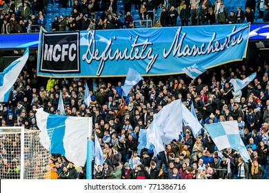 UNITED KINGDOM, MANCHESTER - November 21th 2017: Fans and supporters with mcfc definitely manchester banner During the Champions League match Manchester City - Feyenoord at the Etihad Stadium
