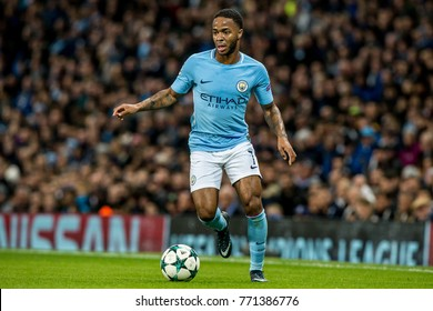 UNITED KINGDOM, MANCHESTER - November 21th 2017: Raheem Sterling During the Champions League match Manchester City - Feyenoord at the Etihad Stadium
