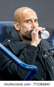 UNITED KINGDOM, MANCHESTER - November 21th 2017:  Coach tainer manager Josep / Pep Guardiola During the Champions League match Manchester City - Feyenoord at the Etihad Stadium
