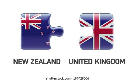United Kingdom New Zealand High Resolution Puzzle Concept