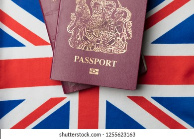 United Kingdom passport with Union Jack Great Britain flag