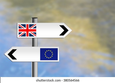 United Kingdom referendum, EU, Europe vote. Or immigration. Sign posts, different directions.