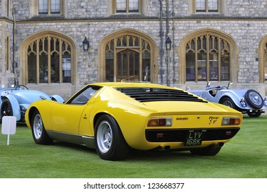 UNITED KINGDOM - SEPTEMBER 13: A classic Lamborghini on display at the United Kingdom Concours d'elegance Classic Car Expo at Windsor Castle on September 13, 2012 in Windsor, United Kingdom.