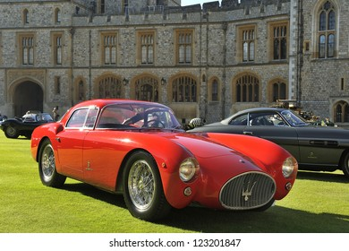 UNITED KINGDOM - SEPTEMBER 13: Maserati on display at the United Kingdom Concours d'elegance Classic Car Expo at Windsor Castle on September 13, 2012 in Windsor, United Kingdom.