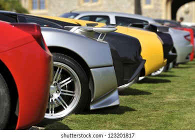 UNITED KINGDOM - SEPTEMBER 13: Selection of Supercars on display at the United Kingdom Concours d'elegance Classic Car Expo at Windsor Castle on September 13, 2012 in Windsor, United Kingdom.