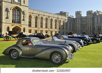 UNITED KINGDOM - SEPTEMBER 13: Selection of stunning cars on display at the United Kingdom Concours d'elegance Classic Car Expo at Windsor Castle on September 13, 2012 in Windsor, United Kingdom.