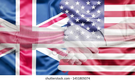 United Kingdom and United States of America Flag merged with Handshake, Special Relationship US UK project, Double Exposure Concept